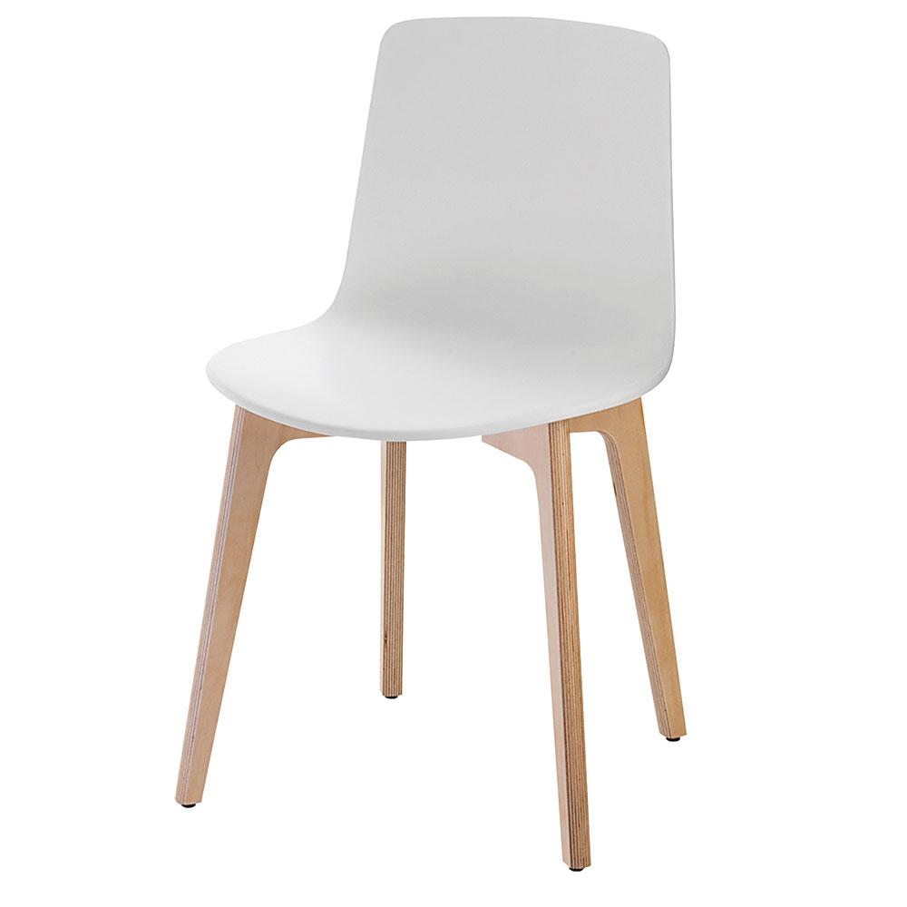 Silla de diseño de color blanco y madera modelo Lottus Wood