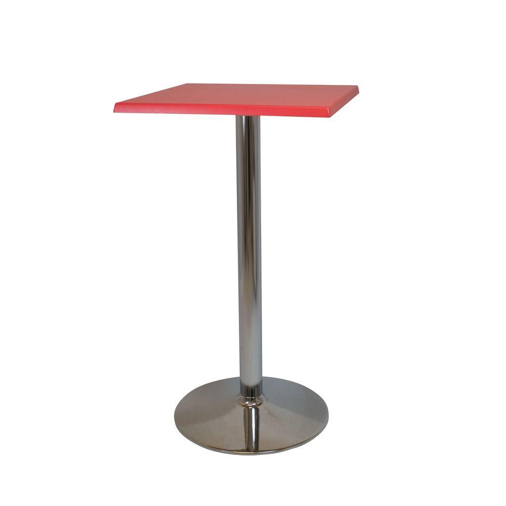Alquiler de Mesas altas Copa alta cromo roja cuadrada
