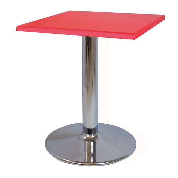 Alquiler de Mesas Copa cromo roja cuadrada