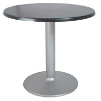 Mesa redonda con tablero negro y pie de plata