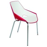 Silla de diseño Viva en color blanco y rojo